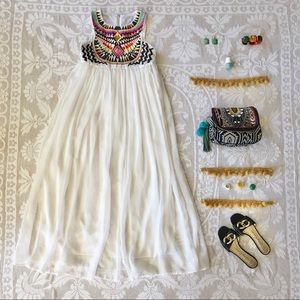 Multicolour embroidered beaded white maxi dress